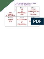 Jadwal Pelajaran Kelas IV b
