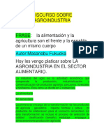 Discurso Sobre Agroindustria
