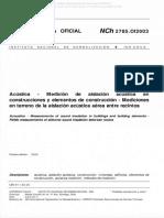 NCh 2785-2003 - Mediciones de aislación acústica en terreno