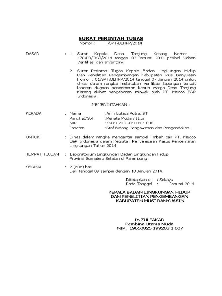 Contoh Surat Perintah Tugas
