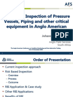 Risk Based Inspection of Pressure Vessels, Piping