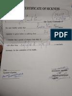 Sickness Certificate