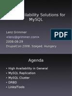 DrupalCon MySQL HA 2008-08-29