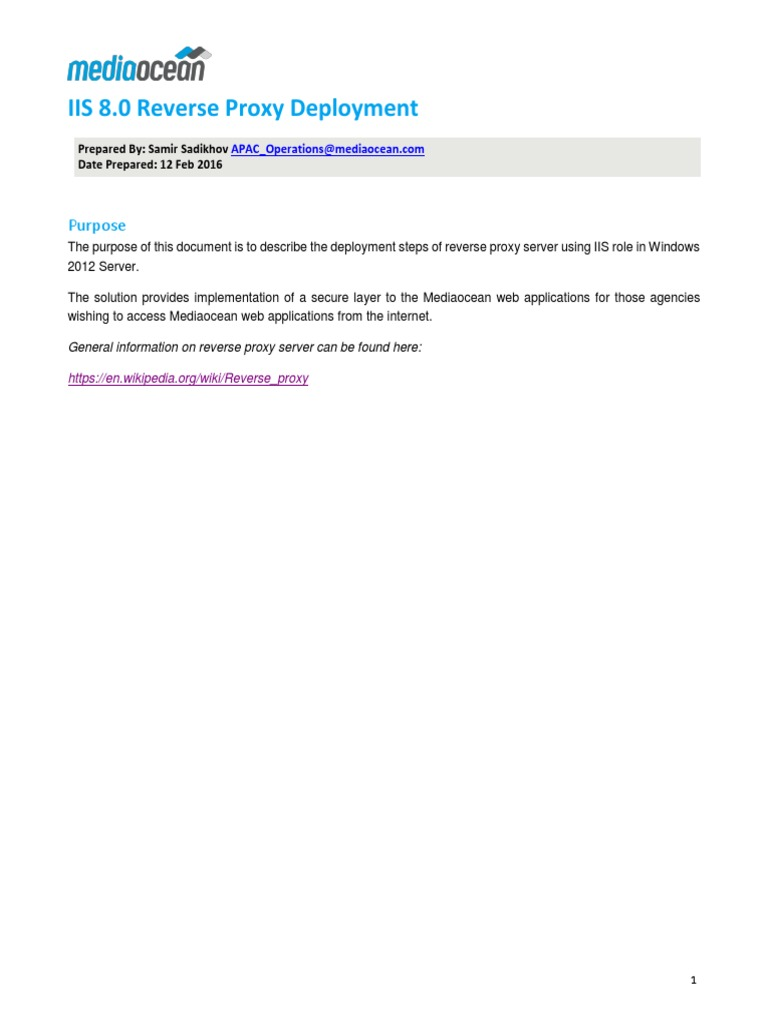 IIS 8 0 Reverse Proxy Deployment pdf | Proxy Server | Web Server