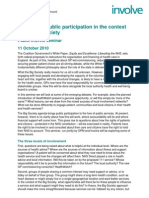 Patient and public participation in the context of the Big Society briefing paper