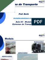 Aula 02 -Modais Sistemas de Transporte