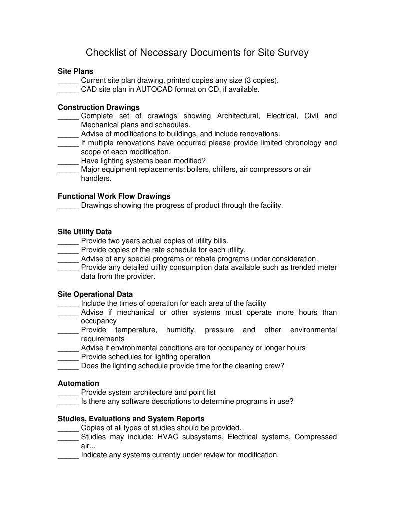 Checklist for Site Survey | Lighting | Engineering | Hvac Drawing Checklist |  | Scribd