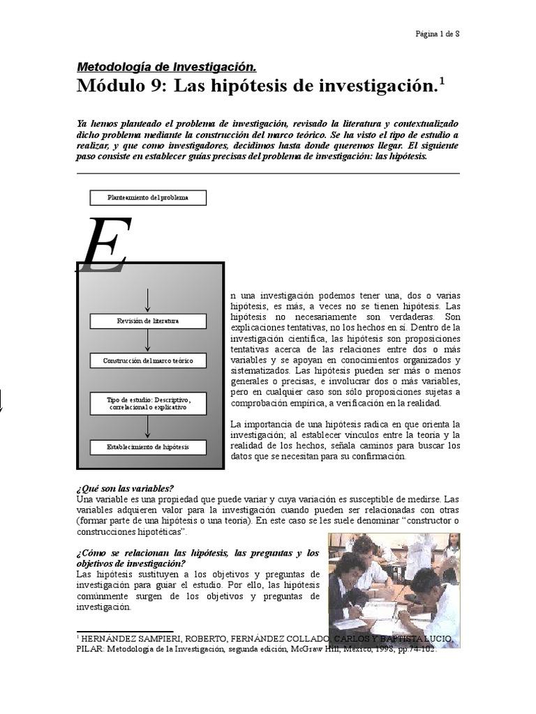 Metodologia de Investigacion_Modulo 9: La Hipotesis de Investigacion