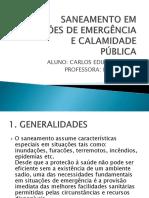 Saneamento Em Situaçoes de Emergencia e Calamidade