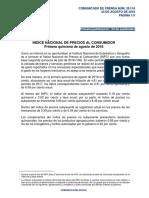 Inflación primera quincena de agosto 2018 INEGI