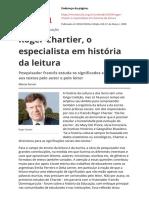 Roger Chartier, o Especialista Em História Da Leitura