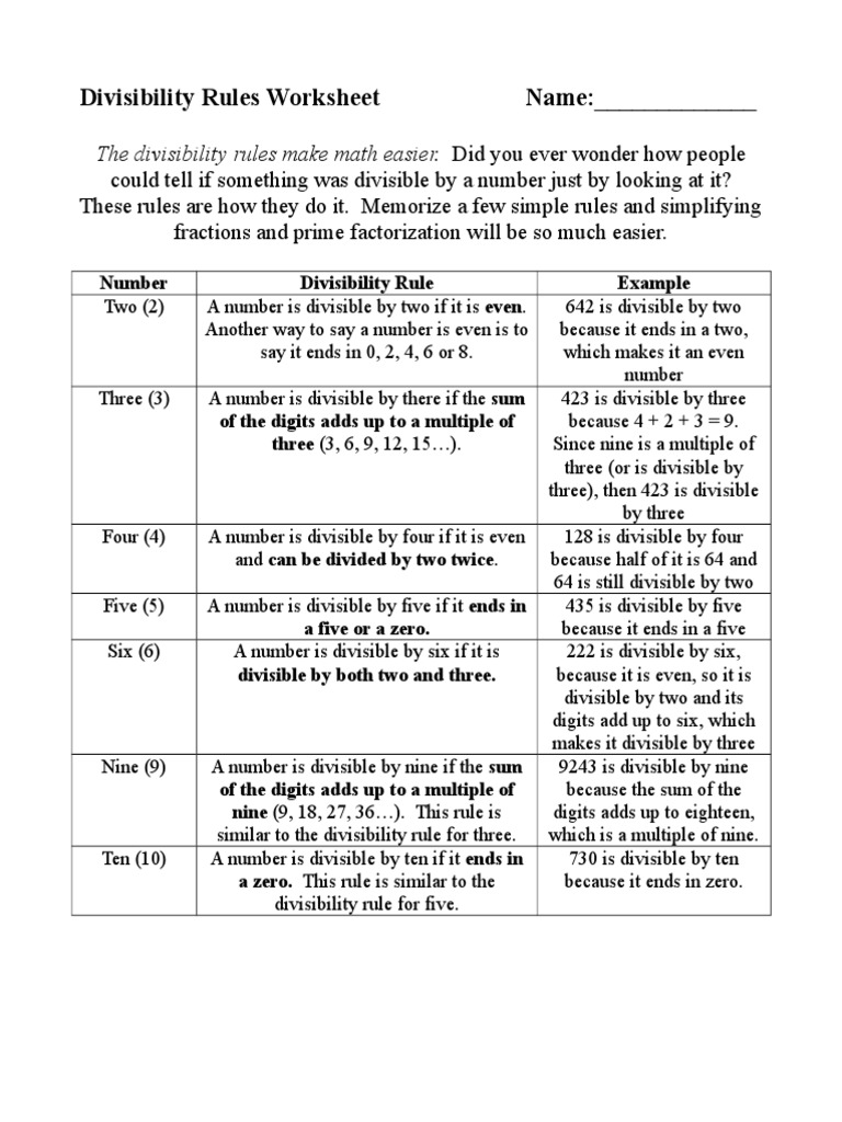 Divisibility Rules Worksheet Doc Arithmetic Abstract Algebra