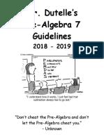 pre-algebra guidelines  2018-19