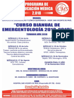 Afiche Curso Bianual de Emergentologia 2018