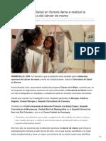 22-08-2018 - La Secretaría de Salud en Sonora llama a realizar la detección oportuna del cáncer de mama - Expreso