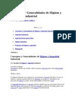 Conceptos y Generalidades de Higiene y Seguridad Industrial