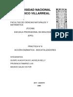 Biologia Numero N° 8 Acción enzimatica- Biocatalizadores