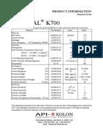 Kocetal K700 Property Data