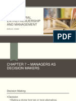 Chapter 7. Managers as Decision Makers