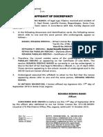 Affidavit of Discrepancy-Form3