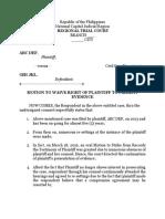 Sample Motion to Waive Presentation of Plaintiff's Evidence