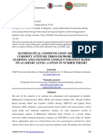 MATHEMATICAL COMMUNICATION ABILITY AND CURIOSITY ATTITUDE THROUGH PROBLEM BASED LEARNING AND COGNITIVE CONFLICT STRATEGY BASED ON ACADEMIC LEVEL