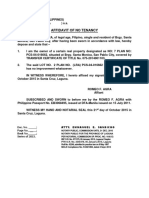 Affidavit of No Tenancy