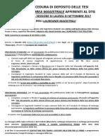 Procedura Deposito Tesi Magistrali - Laureandi