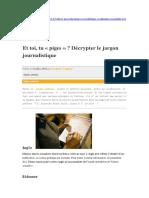 Décrypter Le Jargon Journalistique