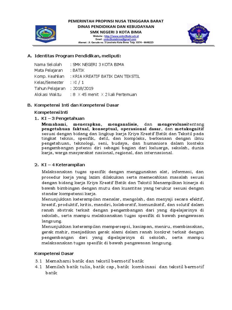 RPP Batik Smtr 3 K 13 Revisi 2018