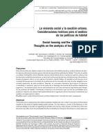 Del Río, Juan Pablo. La Vivienda Social y La Cuestión Urbana - Consideraciones Teóricas