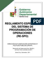 Reglamento Específico Del Sistema de Programación de Operaciones RE-SPO (RG Nro. 294-2011)