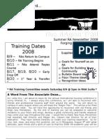 RA Summer Newsletter 08