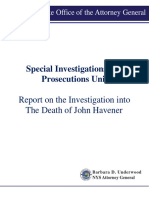 Report on the investigation into the death of John Havener
