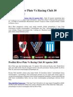 Prediksi River Plate vs Racing Club 30 Agustus 2018