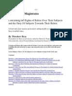 The Right of Magistrates - Theodore Beza
