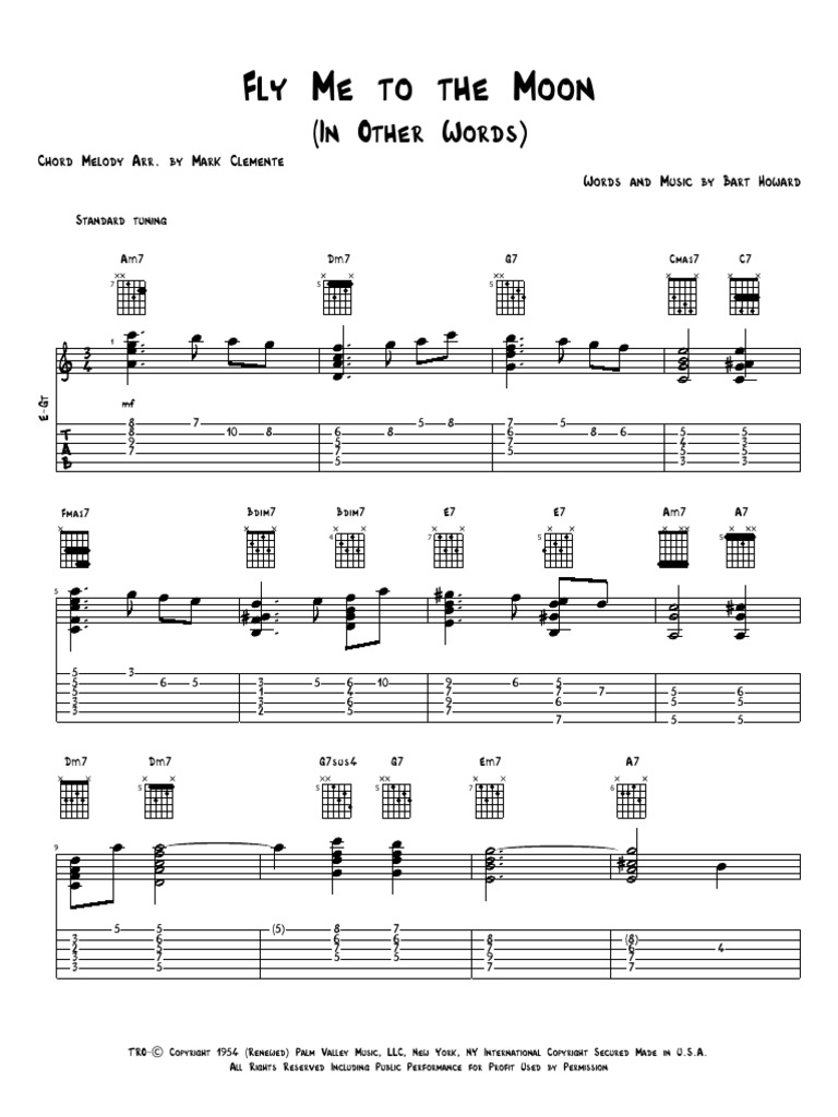 Fly Me To The Moon Irish Musical Instruments Music Theory