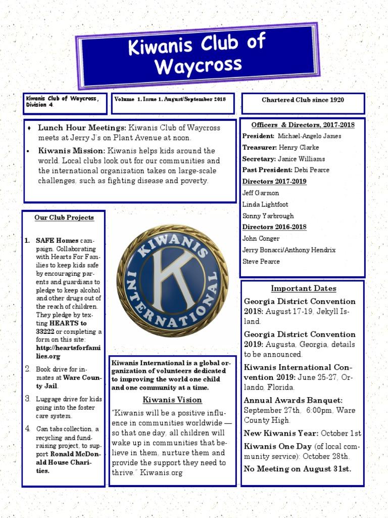 Kiwanis Club of Waycross, August-September, 2018 | Mutual
