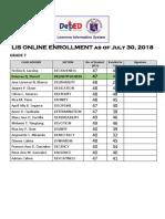 Lis Online Enrollment as of July 23