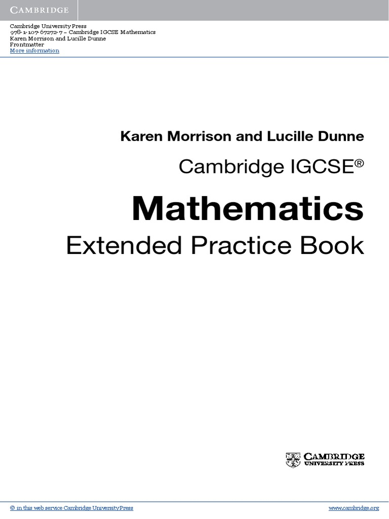 EXTENDED Cambridge Igcse Mathematics Extended Practice Book | Fraction ( Mathematics) | Numbers