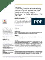 Adolescents Perception of Parental Feeding Practi