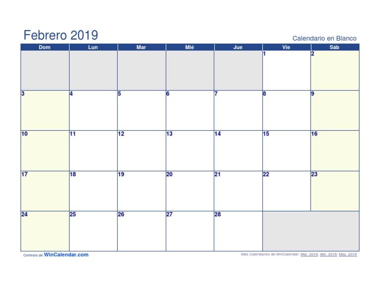 Calendario Febrero 2019.Calendario Febrero 2019