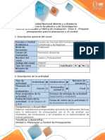 Guía de Actividades y Rúbrica de Evaluación - Paso 3 - Preparación de Presupuestos Para La Planeación y El Control