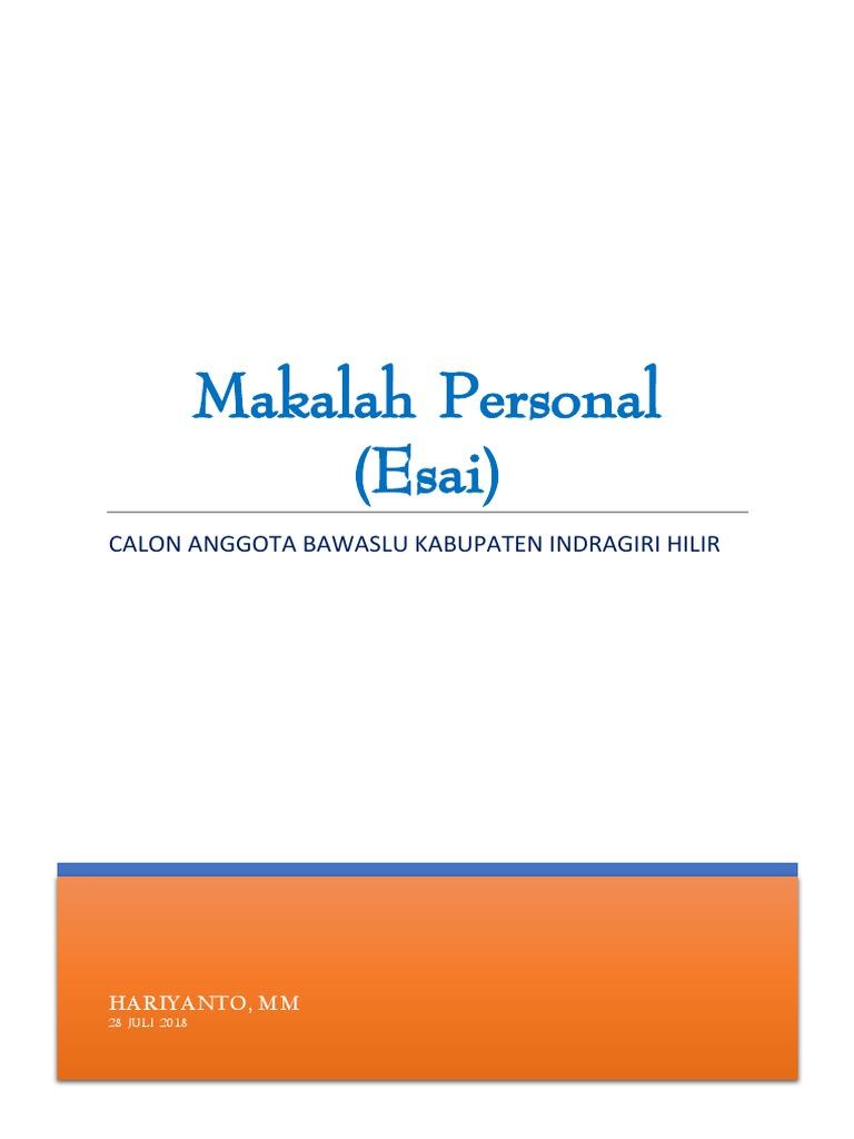 Makalah Personal Hariyanto