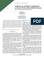 Analisis Pengaruh Tax Amnesty Terhadap Penerimaan Dan Total Pelaporan Pajak