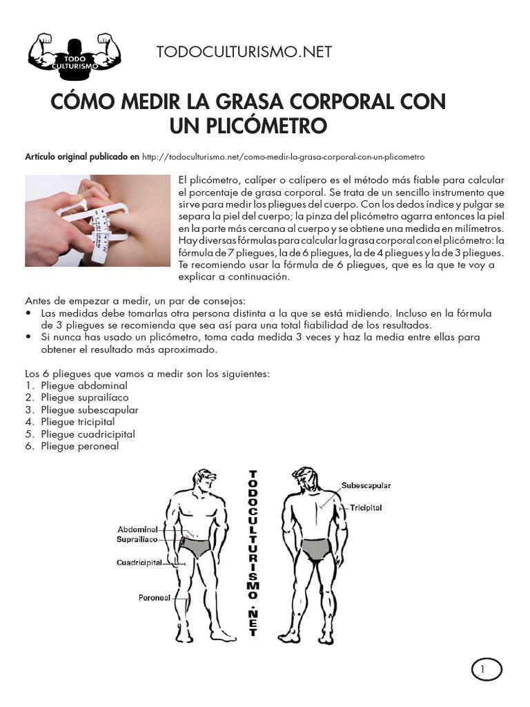 medir la grasa corporal con pliegues