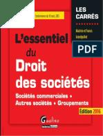 L'Essentiel Du Droit Des Sociétés 2016 - Gualino