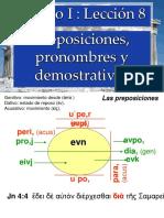 2505394 Leccion 8 Prosiciones, Pronombres y Demostrativos