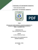 Influencia del control ambiental y conciencia ambiental en la conducta ecológica