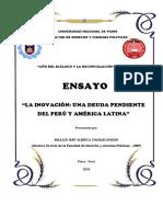 """Ensayo """"la deuda de la innovacion peruana y latinoamericana"""""""